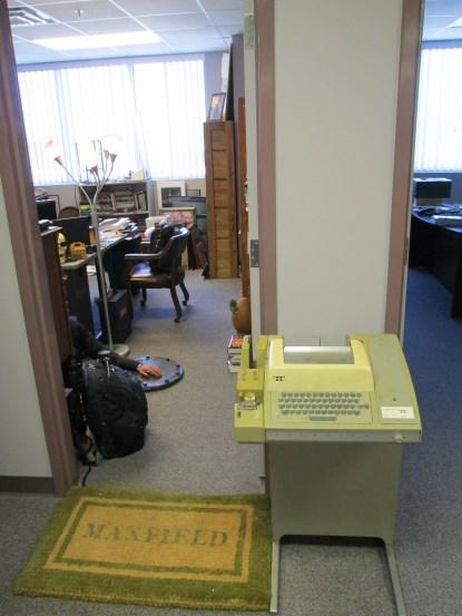My beautiful ASR-33 Teletype Terminal sitting outside the door to my office.