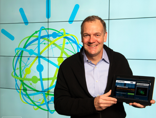Demonstrating a Watson cloud service is IBM SVP Mike Rhodin who will lead the IBM Watson Group in New York's Silicon Alley. (Source: IBM)