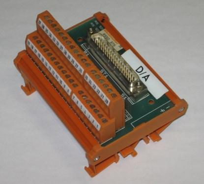 Figure 1. A 37-way D-subminiature to screw terminal adapter. The connectors are double stacked to improve the density, but are not pluggable. (Click here to see a larger image.)