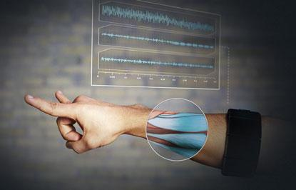 What MYO gesture control armband measures muscle movement.