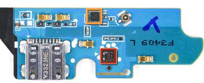 SHTC1 humidity and temperature sensor (marked in red) on Samsung GS4 phone.full-sized image. (Source: iFixit)