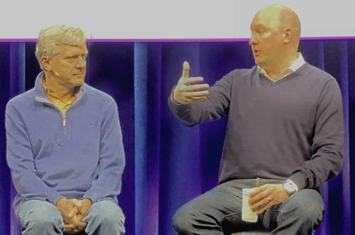 Andreessen (right) spoke about bitcoin on stage with Andy Bechtolsheim.