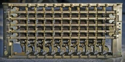 A 100-point, 6-wire crossbar switch manufactured by Western Electric circa 1970.