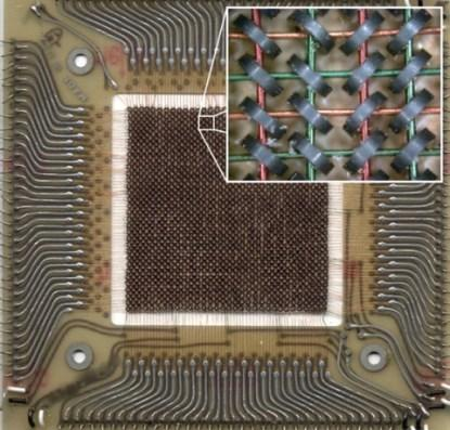 A 32 x 32 core memory plane storing 1,024 bits of data (physical size = 10.8cm x 10.8cm).