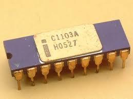 An Intel 1103 DRAM semiconductor memory chip.