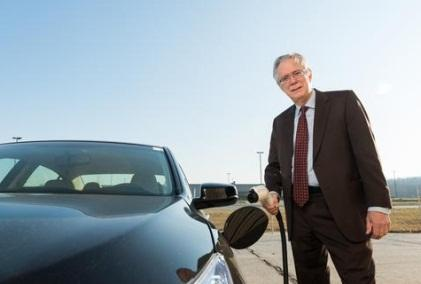Willett Kempton of the University of Delaware has been a driving force behind the idea of vehicle-to-grid (V2G) technology. In 2013, Delaware teamed with NRG Energy to launch the world's first revenue-generating V2G project. Here, Kempton is shown with a Honda Accord Plug-In Hybrid that's being used as part of a demonstration project by the university. 