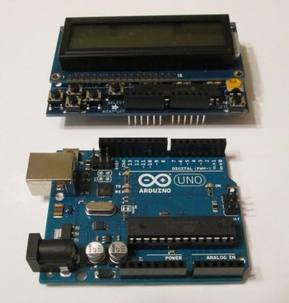 Arduino Uno with LCD Shield separate (click here for a larger image).
