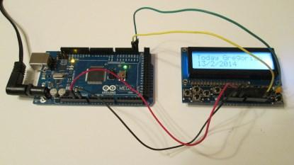 Arduino Mega with LCD Shield connected by flying wires (click here for a larger image).
