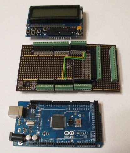 Arduino Mega, proto-shields, and LCD Shield separate (click here fora larger image).
