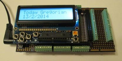 Arduino Mega, proto-shields, and LCD Shield mounted (click here fora larger image).