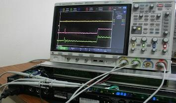 Agilent MSOX4154A oscilloscope in Tom's lab.