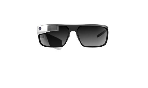 Google Glass with optional sunglass attachment.
