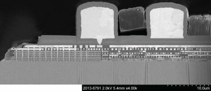 Figure 2. Cross-section of a 28nm processor (Click here to see a larger image.)