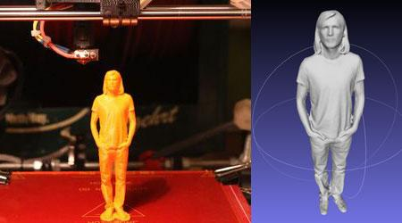 The result of a scan and the printed figurine.