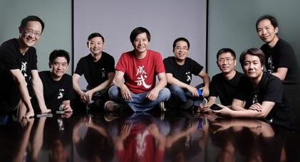 Jun Lei, Xiaomi's founder (in the center in red T-shirt), and seven co-founders.(Source: Xiaomi)