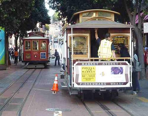 The cable cars stop just a few blocks from the Moscone Center.
