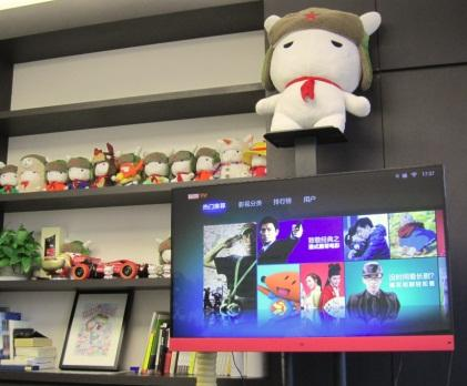 Inside Xiaomi co-founder/president Bin Lin's office -- complete with Xiaomi's own 47-inch TV, and a whole bunch of stuffed bunnies. Xiaomi's mascot is a bunny wearing an Ushanka with a red star and a red scarf around its neck. (Source: EE Times/Junko Yoshida)