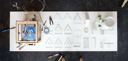 A small-scale prototype is printed first on a desktop 3D printer to make sure everything is correct.