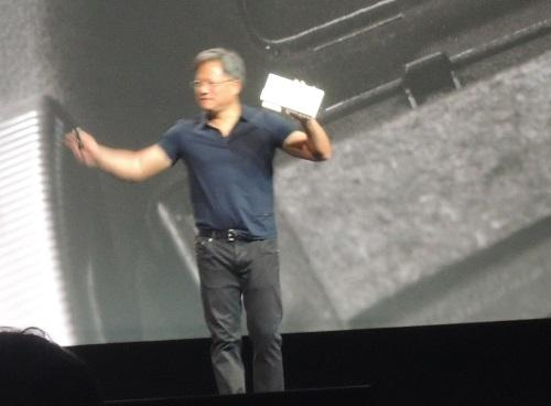 Nvidia CEO Jen-Hsun Huang showed the form factor of the computer using the Tegra K1 in the Audi self-driving car.