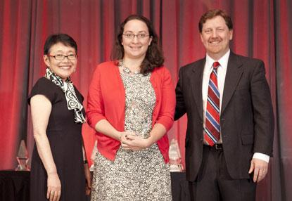 Lauren Robeson (center) accepting 2014 ACE Award honorable mention on behalf of ProSoft for Marketing Team of the Year.