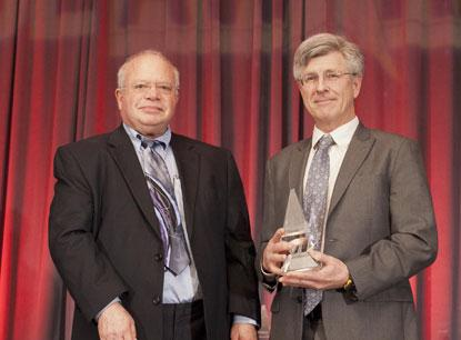 Jack Ganssle (right) is the 2014 recipient of ACE Award -- Jim Williams Contributor of the Year. The award was presented by Bob Dobkin (left), co-founder, vice president of engineering & chief technical officer at Linear Technology, which sponsors the award.
