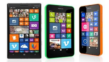 The Nokia Lumia 930, 635, and 630. Source: Nokia
