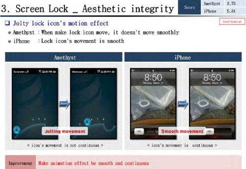 One of several pages from a Samsung internal report dated March 2010 comparing how well its prototype phone matched the patented slide-to-unlock feature of the iPhone.