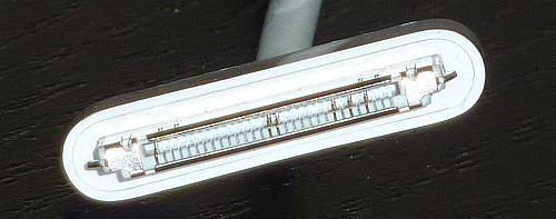 Figure 2. A close-up of a genuine Apple 30- pin connector shows the pins Apple uses for power and USB data.
