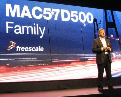 Bob Conrad, senior vice president and general manager, Freescale's Automotive MCU group,  introduces MAC575Dxx family at Freescale Technology Forum, on April 9, 2014. (Source: EE Times/Susan Rambo)
