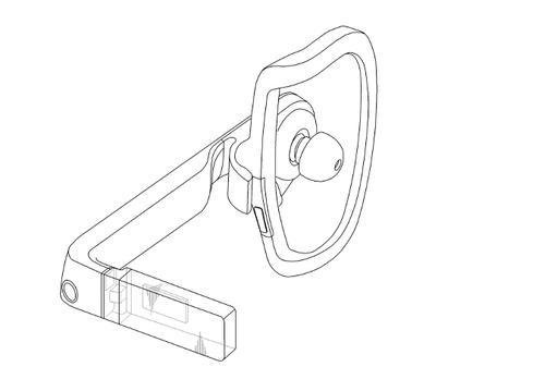 Unlike Google Glass, Samsung Earphone has only a single miniature heads-up-display.(Source: Samsung via GalaxyClub.nl)
