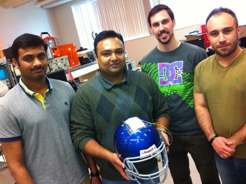 Grad students (from left) Sai Guruva R. Avuthu, Binu Baby Narakathu, Michael James Joyce, and Ali Eshkeiti developed the SafeSense helmut.