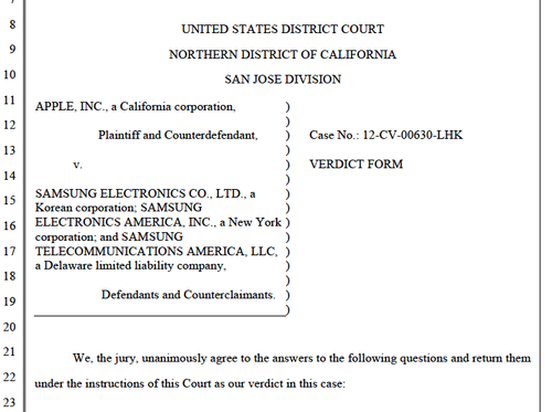 Jury instructions form from Apple/Samsung trial, April 2014.