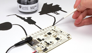 Painting a sensor with Electric Paint. (Source: Bare Conductive)