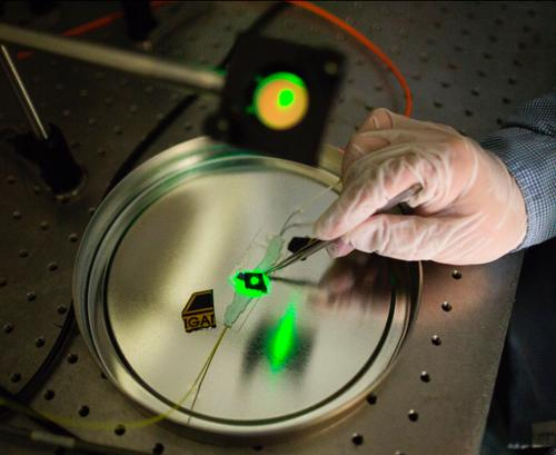Jay Guo's lab produces these tiny detectors for handheld devicesthat convert terahertz waves into sound.(Source: University of Michigan)