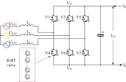 A basic three-phase, two-level voltage-source converter for HVDC.