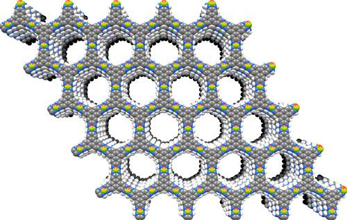 The molecular structure of the graphene-analog material naturally forms a hexagonal lattice structure so that the openings in the hexagons are all perfectly aligned. (Source: MIT)