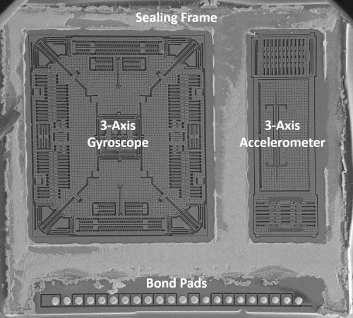 The accelero/gyro sensor in the STMicroelectronics LSM9DS0 nine-axis IMU. (Source: System Plus Consulting report from December 2013)