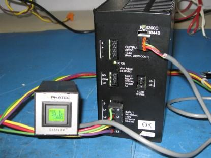 Our DataView monitoring a power supply. The package requires a standard cutout in the panel.(Click here to see a larger image.)