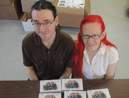 Windell and Evil Mad Scientist co-founder Lenore Edman prepare 555 educational kits for this weekend's Maker Faire Bay Area, where Windell will speak on behalf of OSHWA.