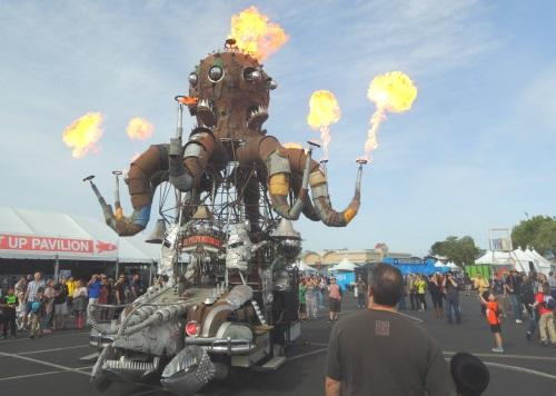 This robotic, steampunk-inspired fire truck is one many icons just inside the entrance to Maker Faire Bay Area.