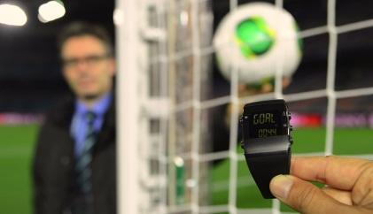 The ref's watch vibrates when a goal is scored.