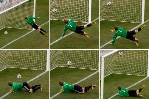 He shoots, he scores? This World Cup will feature technology that for the first time will help avoid bad referee calls, such as happened in 2010 (above) when mid-fielder Frank Lampard's shot clearly crossed the line, but the officials claimed they could not see it do so. Other bad calls from World Cups past can be seen here.
