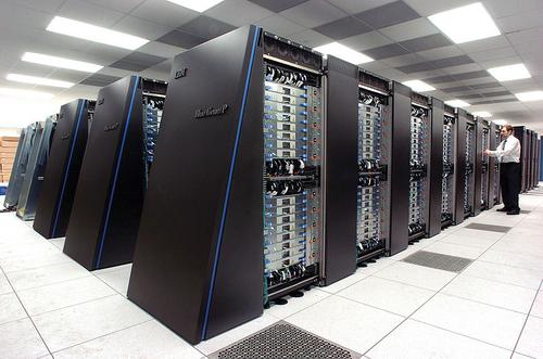 The IBM Blue Gene/P supercomputer installation at the Argonne Leadership Angela Yang Computing Facility, located in the Argonne National Laboratory in Lemont, Ill., December 2007.