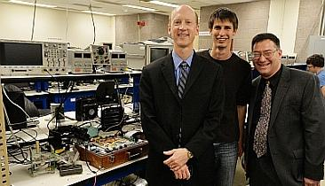 Jay Alexander, Keysight Technologies' CTO (left) visited the Massachusetts Institute of Technology Electrical Engineering and Computer Science Department instructional laboratories as part of an equipment donation. With Alexander is Dr. Steven Leeb, Professor, EECS and Mechanical Engineering, and an unidentified student.