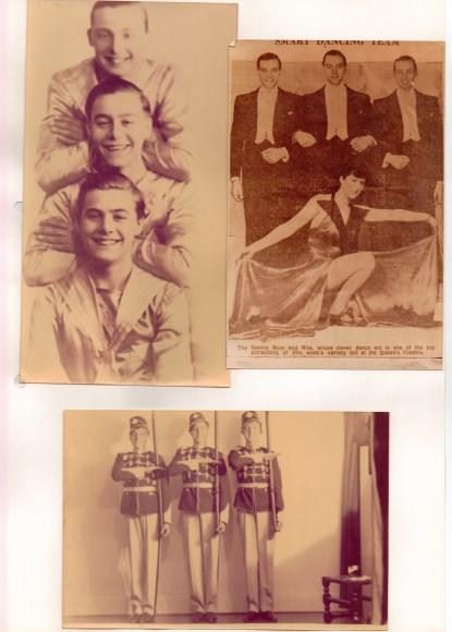 Here's a scan of a page from a scrapbook dad put together. In all of the images my dad is the one in the middle (the 'Dennis Boys' in the caption associated with the upper-right image was another of their stage names) (Click here to see a larger image.)