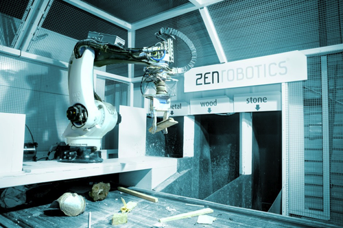 Finnish ZenRobotics Ltd.'s main product, the ZenRobotics Recycler (ZRR), is the first AI-controlled robotic recycling system that reclaims valuable raw materials from construction and demolition waste.  The ZRR is made up of two components: the industrial robot KUKA KR40PA and the ZenRobotics Brain, also called 'the system.' This robot model can lift up to 40 kg (20 kg net load) payload and is extremely fast. The robot has four position sensors, four servo temperature sensors, and four servo load sensors to help the ZenRobotics Brain get more information about the robot's condition at any given millisecond. The system uses advanced machine learning technology and multiple sensors to create an accurate real-time analysis of the waste stream. Based on the analysis, the system is able to make autonomous decisions on what objects to pick and how. The system is easily upgraded.  Different technologies make the ZenRobotics Recycler interesting: Artificial intelligence. The ZenRobotics Brain component analyzes the input from a plethora of sensors (currently metal detector, NIR, 3D laser scanner, video feed) using advanced AI algorithms. The extensive use of advanced inspired AI algorithms by the control system makes it possible, for the first time, to operate a robot in an unstructured environment instead of a strictly prescribed one, e.g., in a car factory. Thanks to the ZenRobotics Brain the robot can work based on the sensor inputs instead of following a pre-programmed routine.  Sensor fusion. The ZenRobotics Brain combines data from different sensors, such as weighing, haptic sensors, and NIR imagery; it combines all imagery data, including historical. The ZenRobotics Brain can also apply machine learning to combine data from two different sensors and create a virtual sensor.  Solar power pack. The ZRR uses only about 10 kW of energy and can be run off solar power using 60 to 100 square meters of solar panels.  ZZR Smart Gripper. ZenRobotics has for years developed rob
