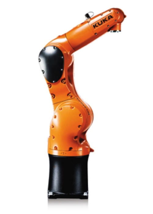 KUKA's KR 6 R700 FIVVE (KR AGILUS) belongs to the family of small robots and comes with five axes, a payload of 6 kg, and particularly high working speeds, at the same time offering high precision. Its low space requirements and the choice between installation on the floor or ceiling make the KR AGILUS extremely adaptable. Its applications include handling, loading and unloading, packaging and order picking, other handling operations; metal casting machines, foundry plants, other coating operations; assembly, fastening, plastics processing machines, inserting, mounting, other assembly/disassembly operations; forging plants, forming machine tools, cutting machine tools, handling for other machines, and palletizing.
