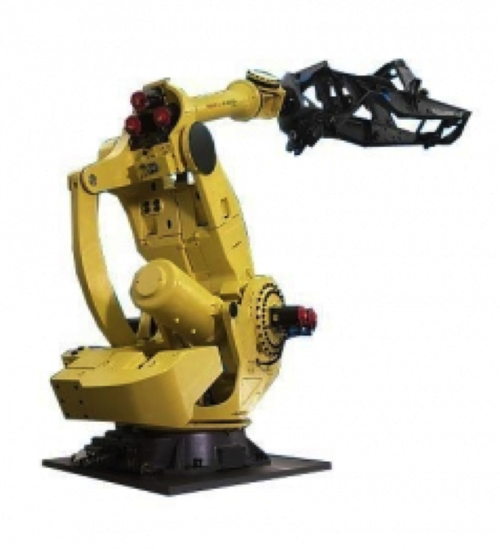 The yellow, six-axis, dinosaur-looking FANUC M-2000iA/1200 offers an unheard of 1,200 kilogram maximum payload capacity and a 3,734 millimeter horizontal reach. This super-strong robot can handle and maneuver extremely large, heavy objects, making it helpful in automotive and heavy machinery settings. The M-2000iA/1200 can lift and move car chassis, tractor frame parts, and other heavy objects with its super-strong arm. Its record wrist strength can handle work that previously was done by multiple robots.