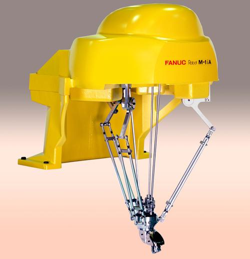 This caped-spider-like robot could be a robotic superhero. This 4-axis version of the M-1iA/0.5S Genkotsu robot can reach speeds up to 3,000 degrees per second, making the FANUC M1iA/0.5S R30iA ideal for the pharmaceutical, plastics, electronics, or packaging industries where high speed and remarkable precision are required to handle light payloads by lightweight automated robots this size. This friendly yellow spider can be installed as a robot only (no stand), as a desktop mount with a stand, at an angle, or on the ceiling. Its convenient design makes it flexible for installation in small spaces.