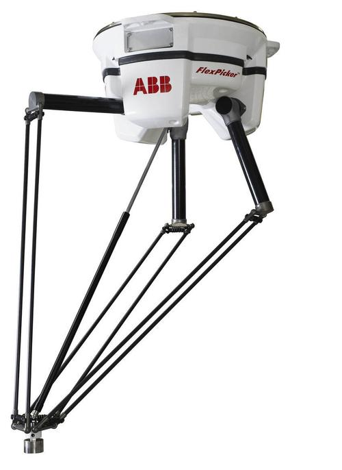 The new arachnid-inspired ABB Flexipicker IRB 360IRC5 Delta robot is a smart robot. The second generation comes in three models, payload capacity ranging from 1 kg to 6 kg and work envelope from 800 mm to 1,600 mm. They all move super fast, take up less space, are IP67K certified, and easy to clean. The Delta robots are ideal for the pharmaceutical industry.  Controller: The ABB IRC5 controller is a fifth-generation robot controller that combines motion control, flexibility, usability, and safety into a multi-robot controller with PC tool support. The IRC5 optimizes the robot performance for short cycle times and precise movements. It features the FlexPendant, which features a color touch screen and a 3D joystick. The RAPID programming language is used to communicate with the controller. Remote robot monitoring is available through standard communication networks and counts with electric position switches instead of electro-mechanical, for added safety.